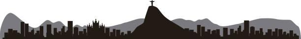 ilustrações de stock, clip art, desenhos animados e ícones de rio de janeiro brazil skyline silhouette, vector illustration - rio de janeiro
