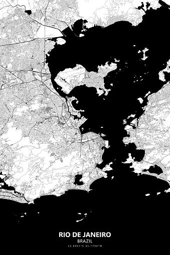 Rio De Janeiro, Brazil Vector Map