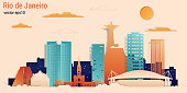 Rio de Janeiro city colorful paper cut style, vector stock illustration