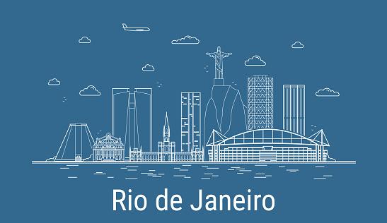 Rio de Janeiro city, Line Art Vector illustration with all famous buildings. Linear Banner with Showplace. Composition of Modern cityscape. Rio de Janeiro buildings set.