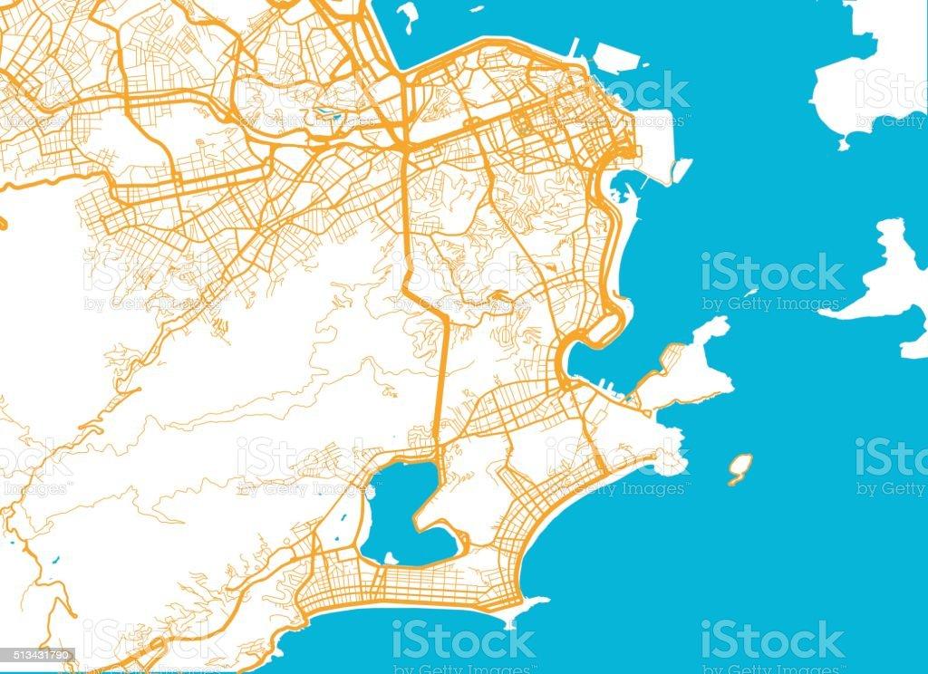 Rio De Janeiro Karte.Rio De Janeiro Stadt Karte Stock Vektor Art Und Mehr Bilder