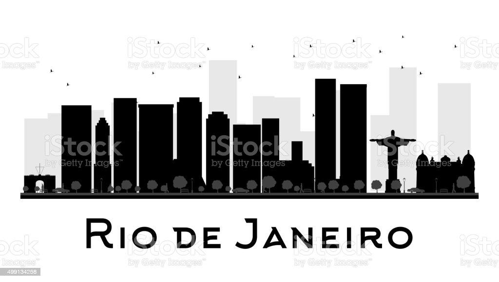 Rio de Janeiro City skyline black and white silhouette vector art illustration