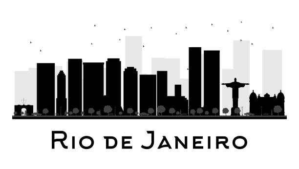 ilustrações de stock, clip art, desenhos animados e ícones de silhueta de horizonte preto e branco do rio de janeiro cidade - rio de janeiro