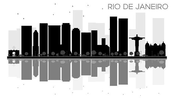 Rio de Janeiro City skyline black and white silhouette with reflections.