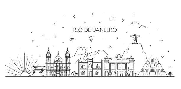 ilustrações de stock, clip art, desenhos animados e ícones de rio de janeiro detailed skyline. travel and tourism background - rio de janeiro