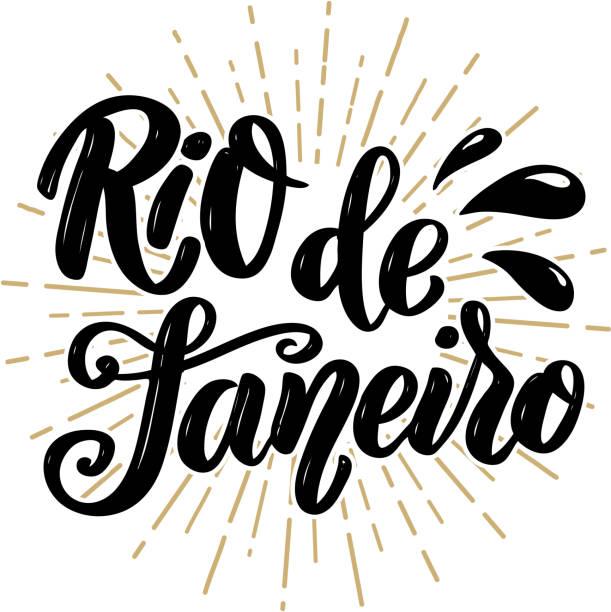 Rio de Janeiro. Hand drawn lettering phrase. Rio de Janeiro. Hand drawn lettering phrase. Vector illustration short phrase stock illustrations