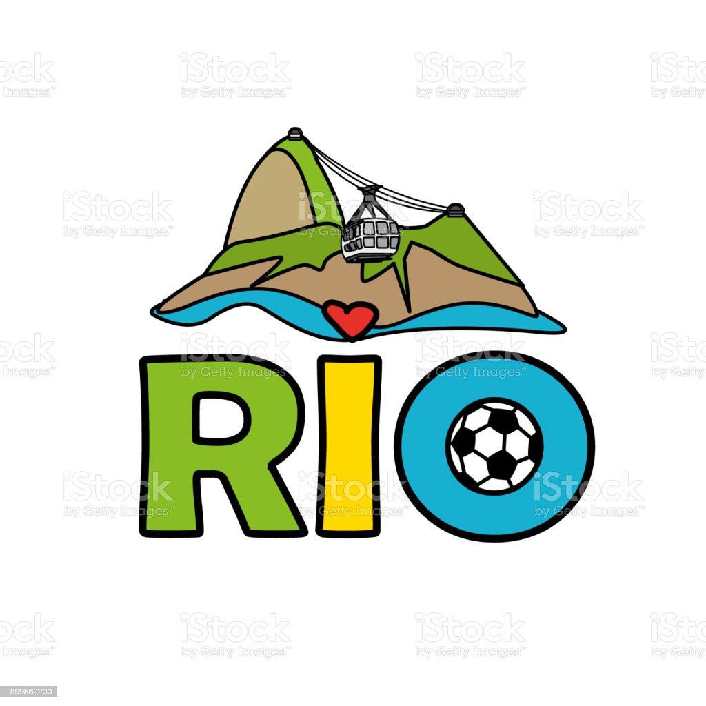 rio de janeiro illustration with sugar head hill vector art illustration