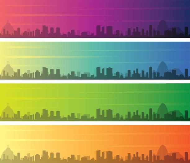 ilustrações de stock, clip art, desenhos animados e ícones de rio de janeiro multiple color gradient skyline banner - rio de janeiro