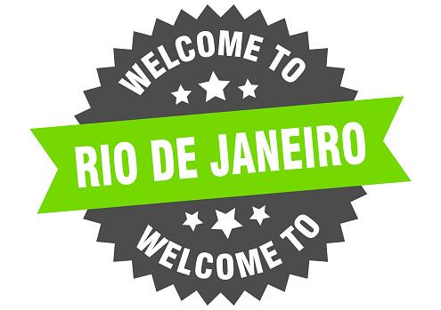 Rio De Janeiro sign. welcome to Rio De Janeiro green sticker