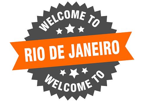 Rio De Janeiro sign. welcome to Rio De Janeiro orange sticker