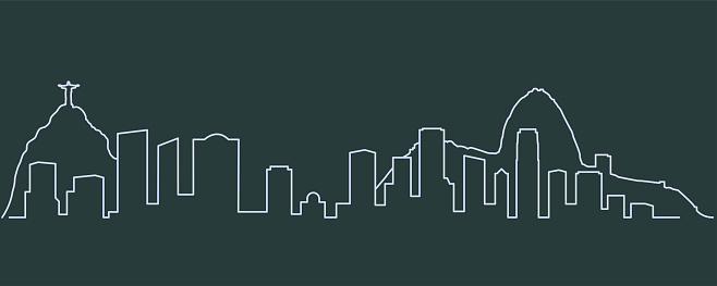 Rio De Janeiro Single Line Skyline