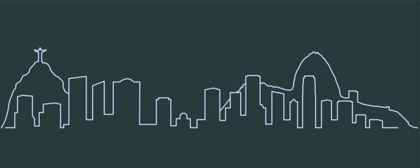 ilustrações de stock, clip art, desenhos animados e ícones de rio de janeiro single line skyline - rio de janeiro