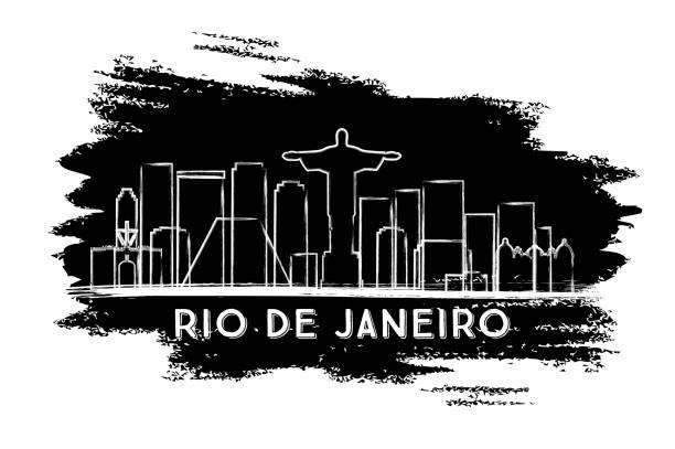ilustrações de stock, clip art, desenhos animados e ícones de rio de janeiro skyline silhouette. hand drawn sketch. - rio de janeiro