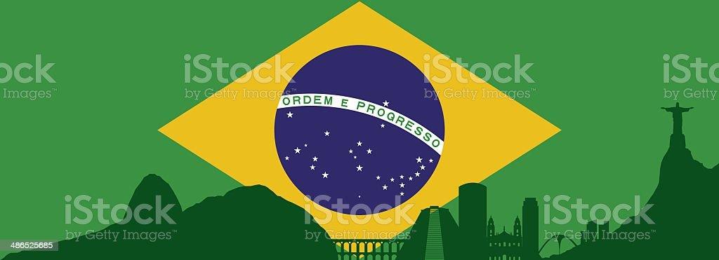 Rio De Janeiro skyline vector art illustration