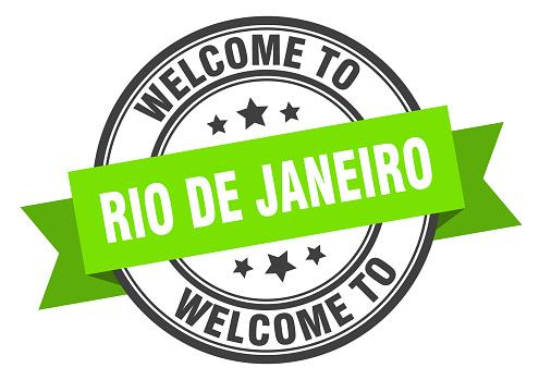 Rio De Janeiro stamp. welcome to Rio De Janeiro green sign