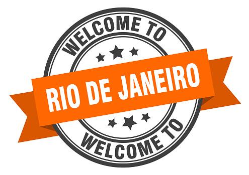 Rio De Janeiro stamp. welcome to Rio De Janeiro orange sign