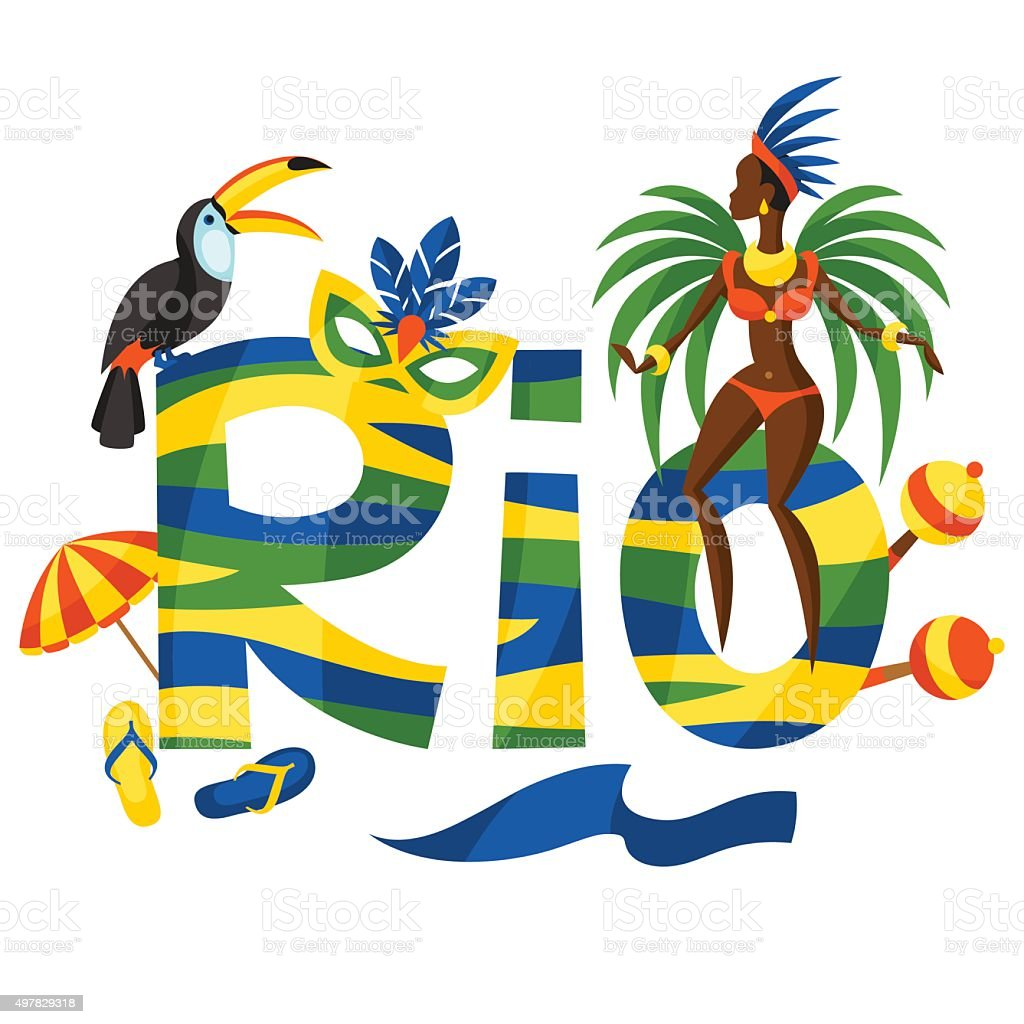 Rio design with objects on white background vector art illustration