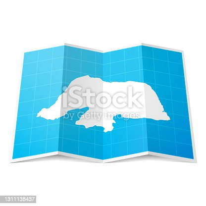 istock Rio Grande do Norte map folded, isolated on white background 1311138437