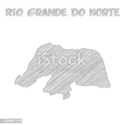 istock Rio Grande do Norte map hand drawn on white background 1288661176