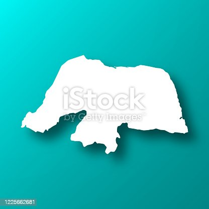 istock Rio Grande do Norte map on Blue Green background with shadow 1225662681
