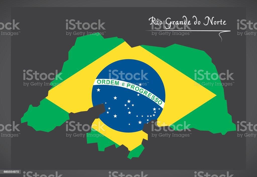 Rio Grande do Norte map with Brazilian national flag illustration vector art illustration