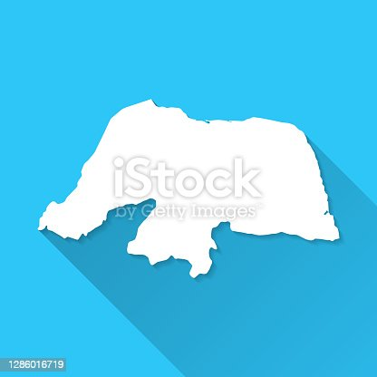 istock Rio Grande do Norte map with long shadow on blue background - Flat Design 1286016719