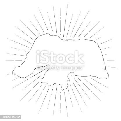 istock Rio Grande do Norte map with sunbeams on white background 1305119765