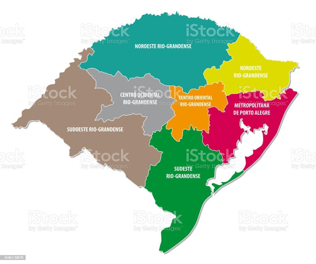 rio grande do sul colorful administrative and political map vector art illustration