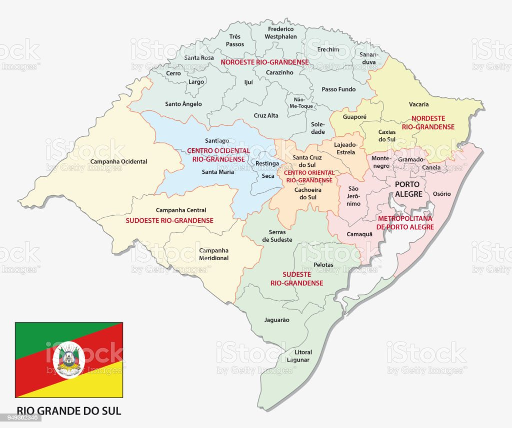 Rio Grande do Sul colorful administrative and political map with flag vector art illustration