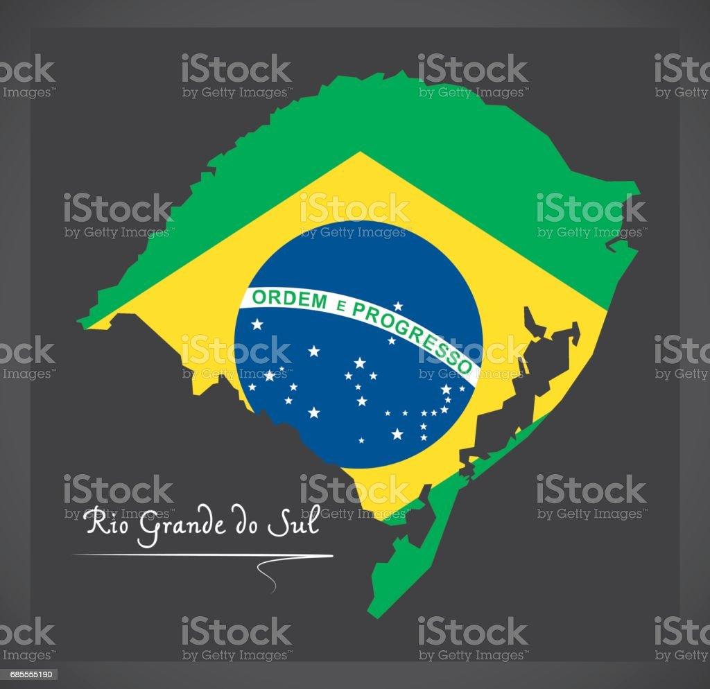 Rio Grande do Sul map with Brazilian national flag illustration vector art illustration