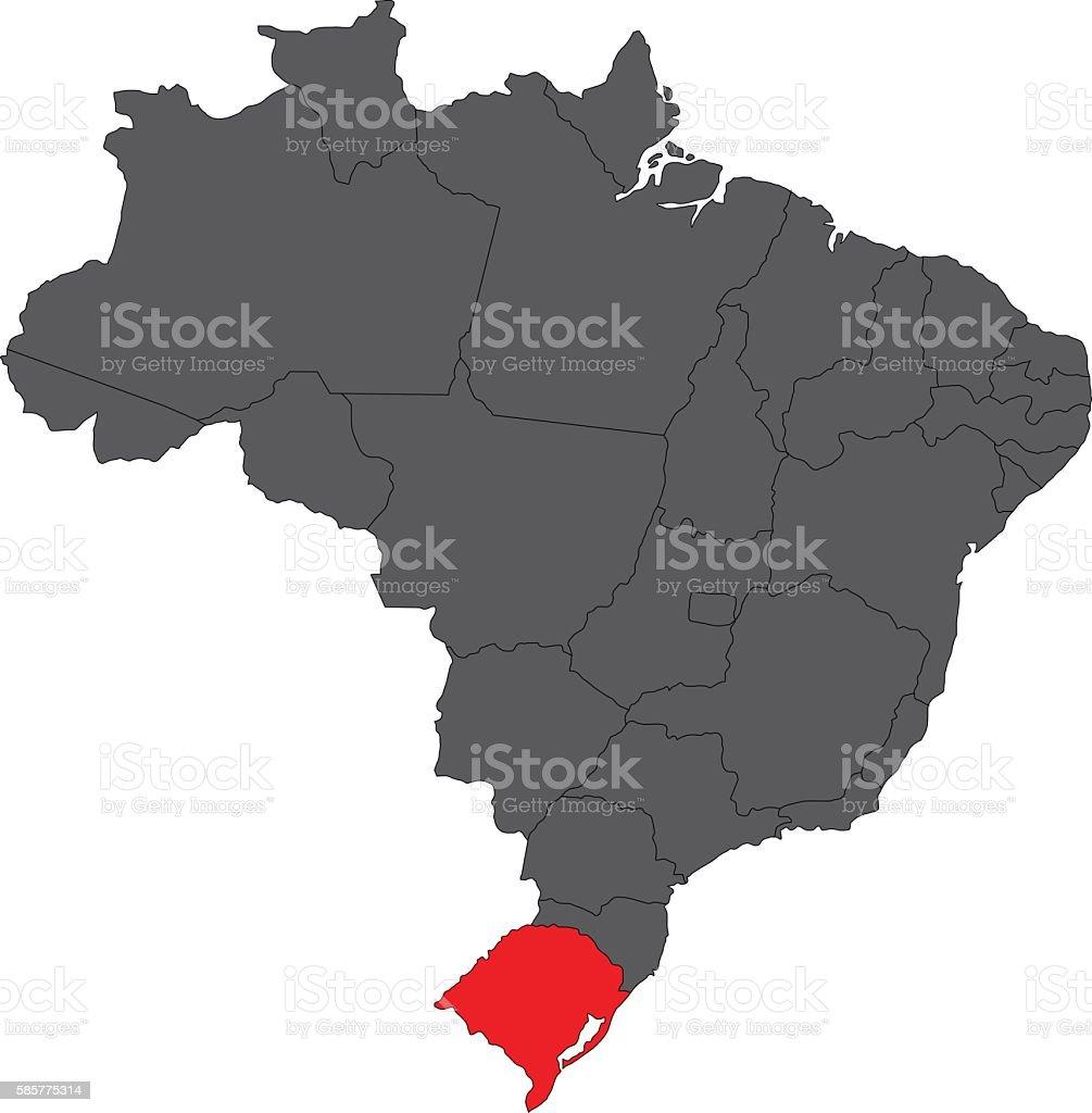 Rio grande do sul red on gray Brazil map vector vector art illustration