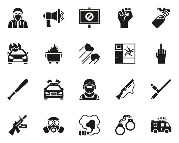 Riot or Public Disturbance Icons Black White Set Big This image is a vector illustration and can be scaled to any size without loss of resolution. dumpster fire stock illustrations