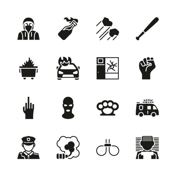 Riot or Public Disturbance Icons Black & White Set This image is a vector illustration and can be scaled to any size without loss of resolution. dumpster fire stock illustrations