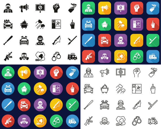 Riot or Public Disturbance Icons -Black & White-Color Flat Design-Thin Line- Set This image is a vector illustration and can be scaled to any size without loss of resolution. dumpster fire stock illustrations