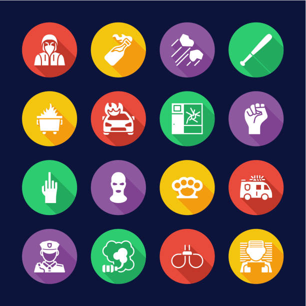 Riot or Public Disturbance Icons Flat Design Circle Set This image is a vector illustration and can be scaled to any size without loss of resolution. dumpster fire stock illustrations