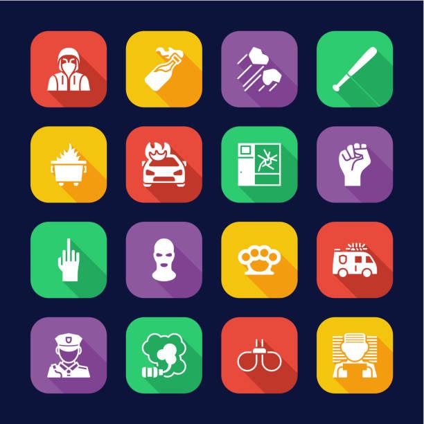 防暴或公共干擾圖示平面設計集 - dumpster fire 幅插畫檔、美工圖案、卡通及圖標