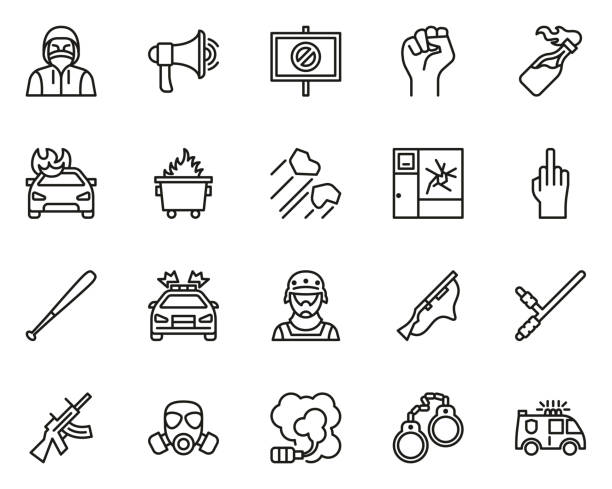 Riot or Public Disturbance Icons Thin Line Set Big This image is a vector illustration and can be scaled to any size without loss of resolution. dumpster fire stock illustrations
