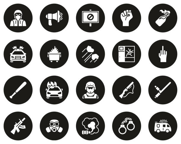 Riot or Public Disturbance Icons White On Black Circle Set Big This image is a vector illustration and can be scaled to any size without loss of resolution. dumpster fire stock illustrations