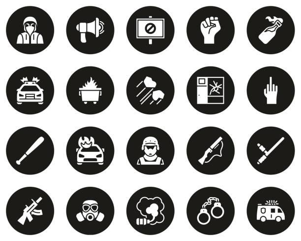 防暴或公共干擾圖示白色在黑色圓圈設置大 - dumpster fire 幅插畫檔、美工圖案、卡通及圖標