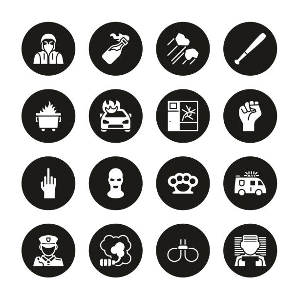 Riot or Public Disturbance Icons White on Black Circle Set This image is a vector illustration and can be scaled to any size without loss of resolution. dumpster fire stock illustrations