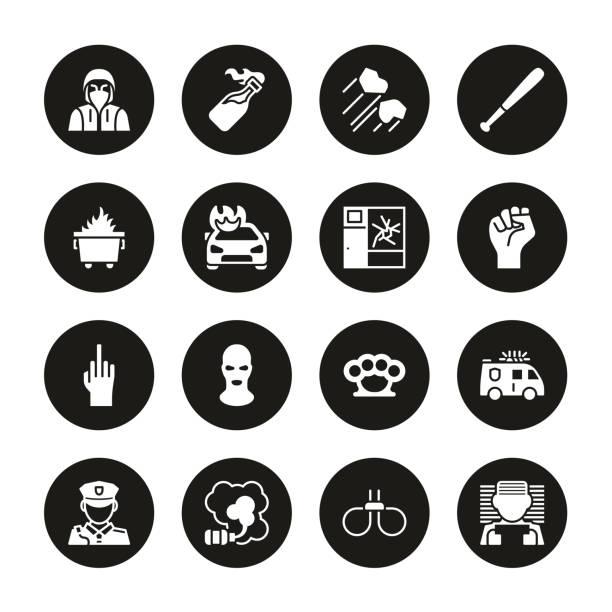 暴動或公共干擾圖示白色在黑色圓圈集 - dumpster fire 幅插畫檔、美工圖案、卡通及圖標