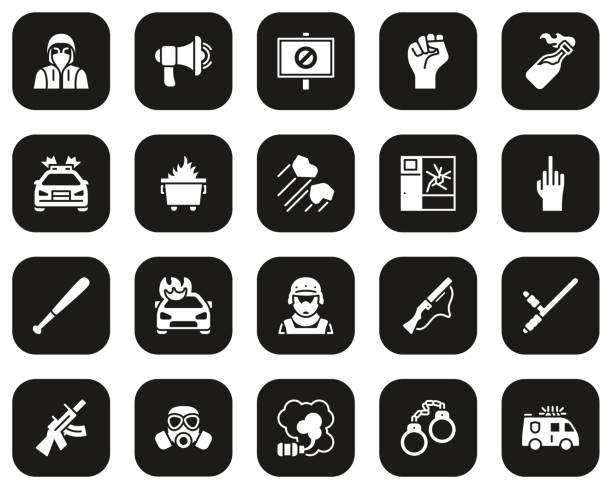 Riot or Public Disturbance Icons White On Black Set Big This image is a vector illustration and can be scaled to any size without loss of resolution. dumpster fire stock illustrations