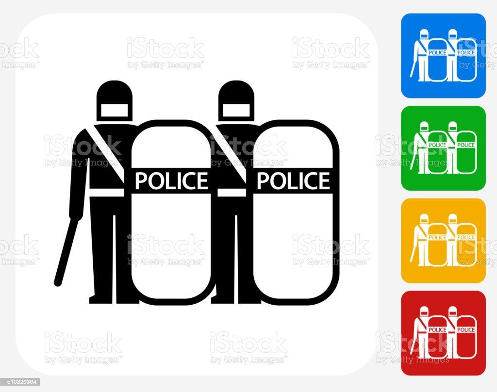 Krawall Polizei Symbol Flaches Grafikdesign Stock Vektor Art und ...