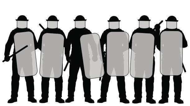 Riot police Editable vector illustration of a group riot police with protective gear and shields riot police stock illustrations