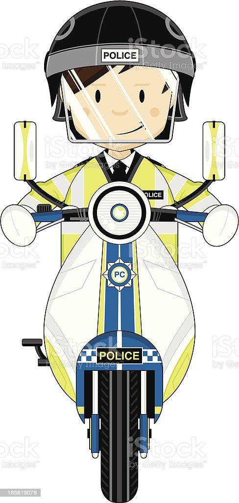 Riot Polizist auf Motorrad – Vektorgrafik