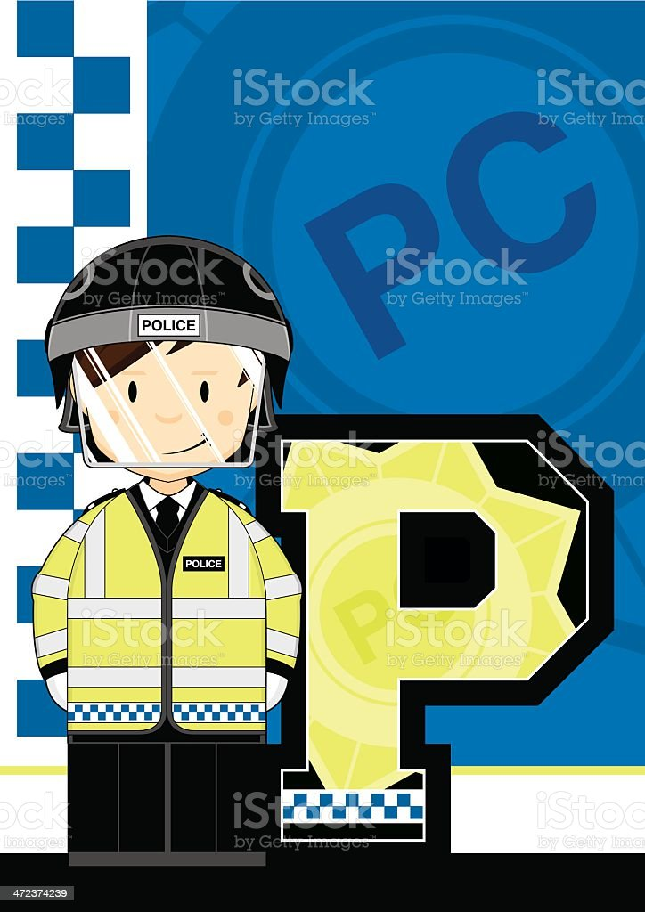 Riot Polizisten Buchstabe P – Vektorgrafik