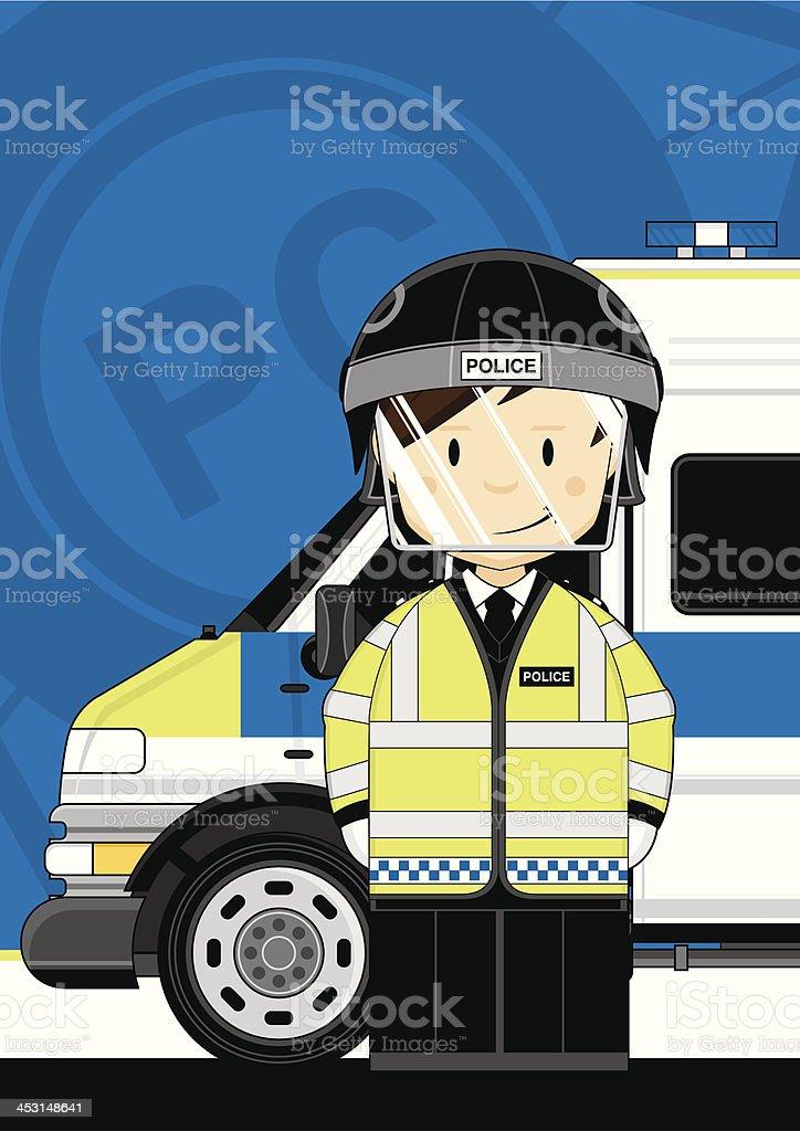 Riot Polizisten & Van – Vektorgrafik