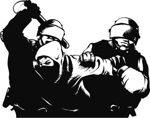 Riot! vector art illustration