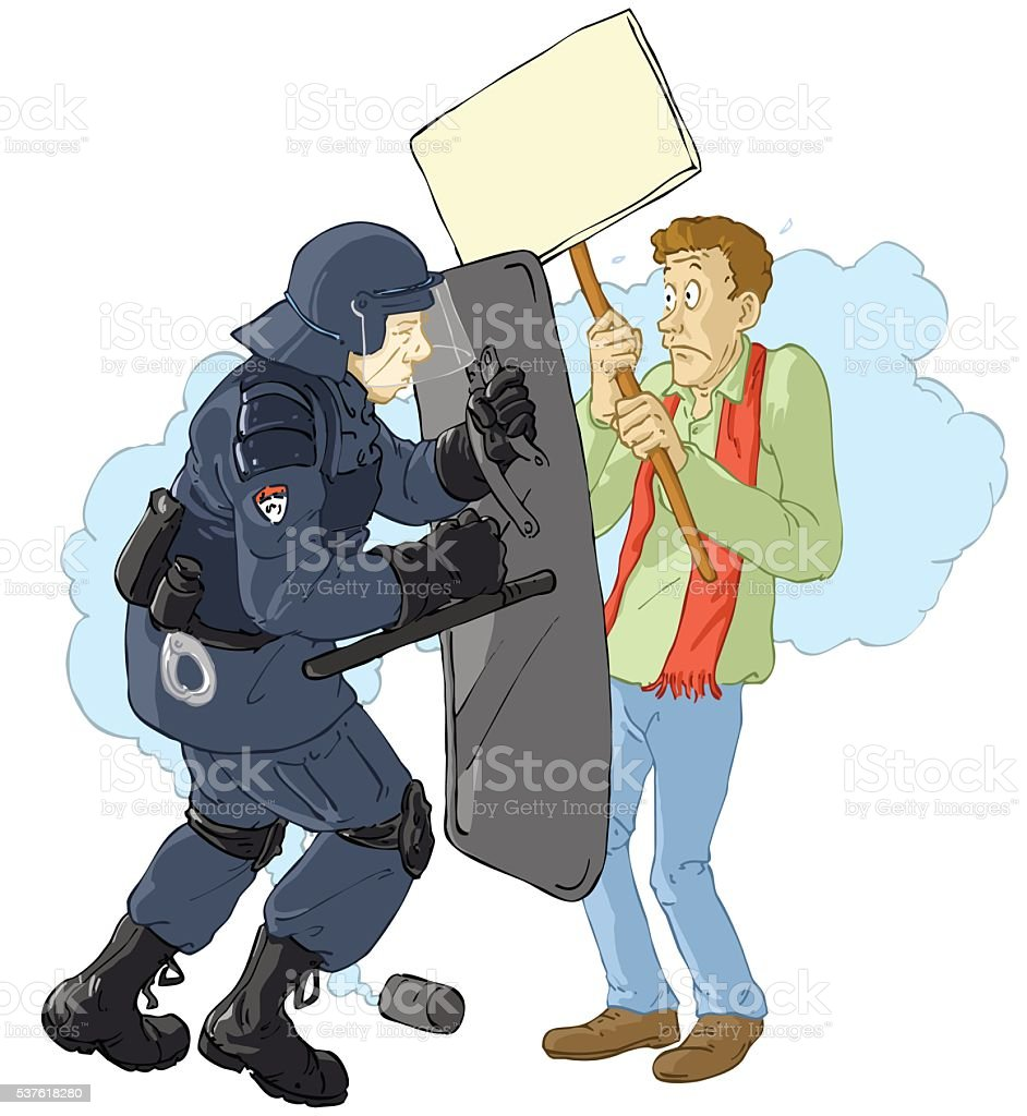 riotpolice_and_demonstrant vector art illustration