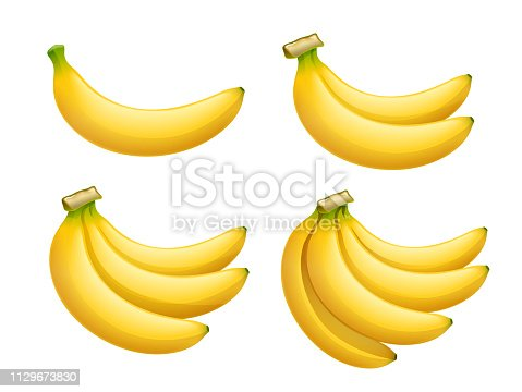Ripe banana. Tropical fruit. Natural organic product. Healthy food. Summer meal. Isolated white background. Eps10 vector illustration.